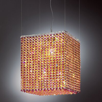 Aurea 5-Light Pendant Crystal Type: Asfour, Crystal Color: Amper, Finish: Gold