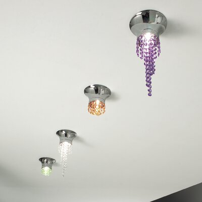 Kioccia 1-Light Flush Mount Crystal Type: Asfour, Finish: Chrome, Crystal Color: Saphire