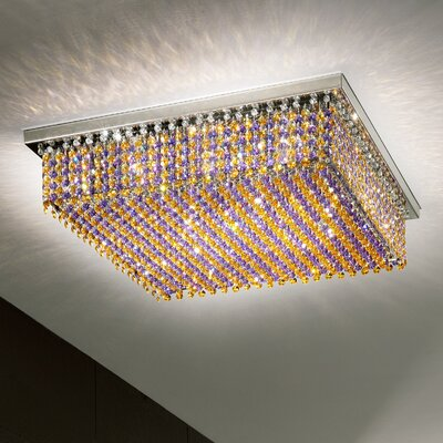 Aurea 6-Light Flush Mount Crystal Type: Asfour, Crystal Color: Saphire, Finish: Gold