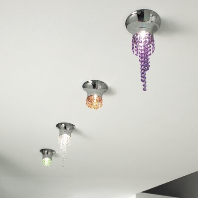 Kioccia 1-Light Small Flush Mount Finish: Chrome, Crystal Type: Asfour, Crystal Color: Amber