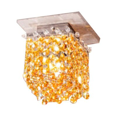 Aurea 1-Light Cube Flush Mount Finish: Gold, Crystal Color: Saphire, Crystal Type: Asfour