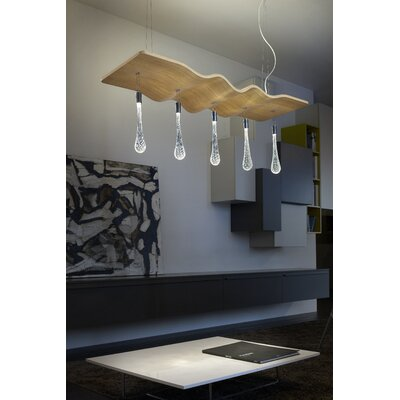 Ripple 5-Light Kitchen Island Pendant Finish: White Oak
