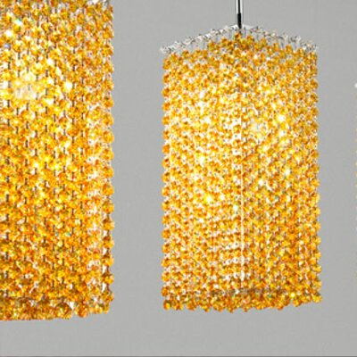 Aurea 1-Light Tall Pendant Crystal Type: Asfour, Crystal Color: Amper, Finish: Gold