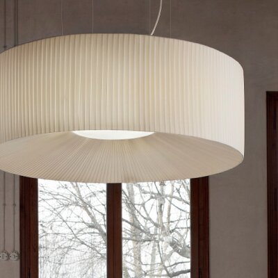 Tessuti Round Drum Pendant Shade Finish: Ivory, Size: Medium