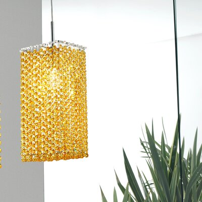Aurea 1-Light Pendant Crystal Type: Asfour, Crystal Color: Saphire, Finish: Chrome