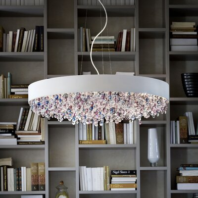 Ola 12-Light Drum Pendant Size: Large, Shade Finish: Matte White