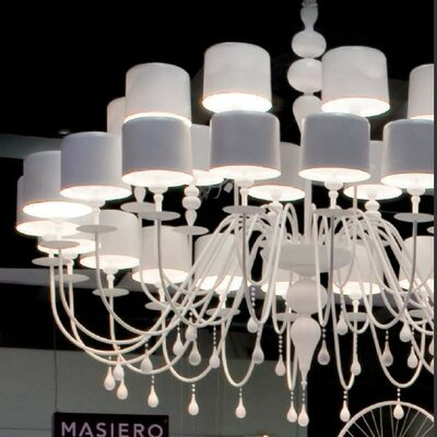 Eva 30 Light Chandelier Finish: Matte White