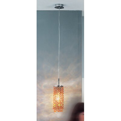 Kioccia 1 Light Pendant Finish: Chrome, Crystal Type: Asfour, Crystal Color: Red