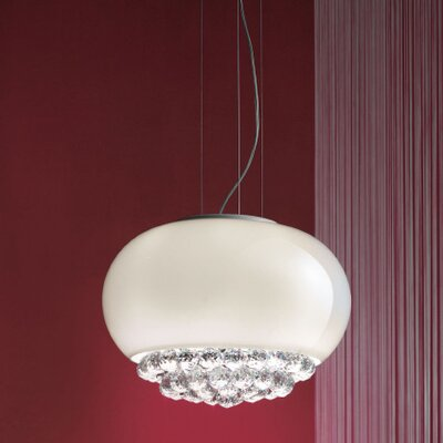 Mir 3-Light Globe Pendant Shade Finish: White, Crystal Type: Swarovski