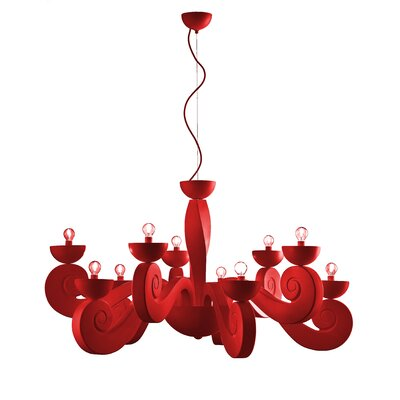 Botero 10-Light Candle-Style Chandelier Color: Red