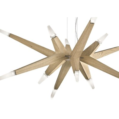 Flashwood 12-Light Geometric Pendant Size: Large, Finish: Natural Oak / Opaque (3000�K)