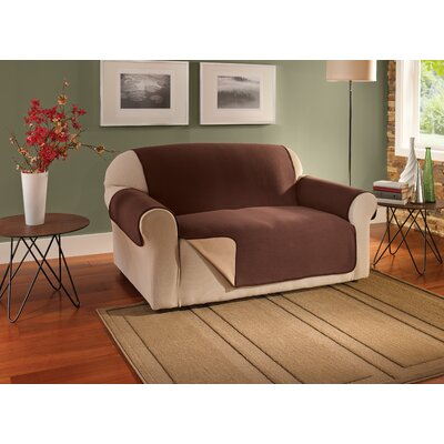 Box Cushion Loveseat Slipcover Upholstery: Chocolate