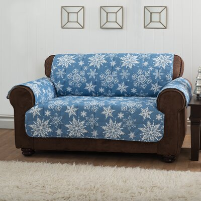 Box Cushion Sofa Slipcover Upholstery: Blue