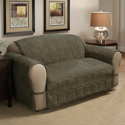 Ultimate Faux Suede Furniture Protector Polyester Armchair Slipcover Upholstery: Sage, Size: 98.5 H x 164 W