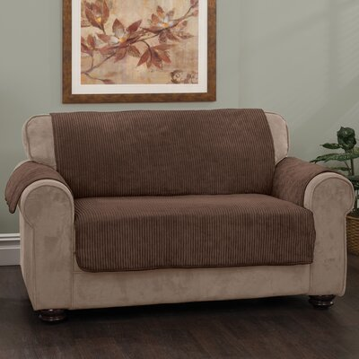 Plush Stripe Polyester Loveseat Slipcover Upholstery: Chocolate