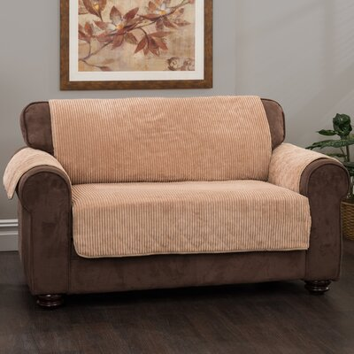 Plush Stripe Box Cushion Loveseat Slipcover Upholstery: Camel