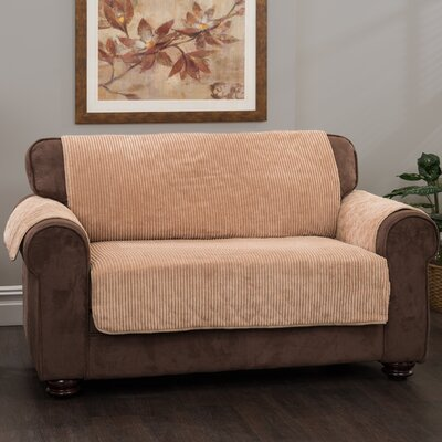 Plush Stripe Box Cushion Sofa Slipcover Upholstery: Camel