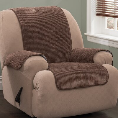 Plush Stripe Polyester Recliner Slipcover Upholstery: Chocolate