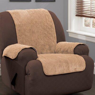 Plush Stripe Polyester Recliner Slipcover Upholstery: Camel