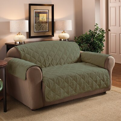 Faux Suede Furniture Sofa Slipcover Upholstery: Sage
