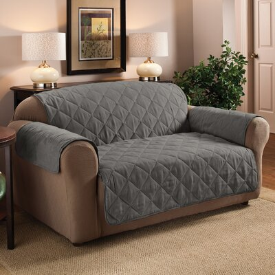 Faux Suede Furniture Sofa Slipcover Upholstery: Gray