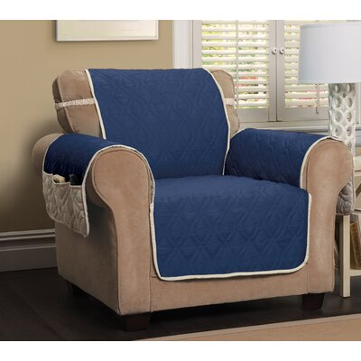 Five Star Box Cushion Armchair Slipcover Color: Navy Blue