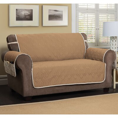 Box Cushion Loveseat Slipcover Color: Toast