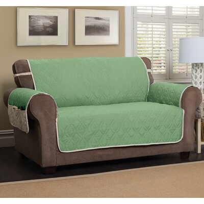 Box Cushion Loveseat Slipcover Color: Green