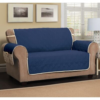 Box Cushion Loveseat Slipcover Color: Navy Blue