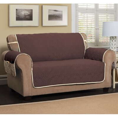 Five Star Box Cushion Loveseat Slipcover Color: Chocolate