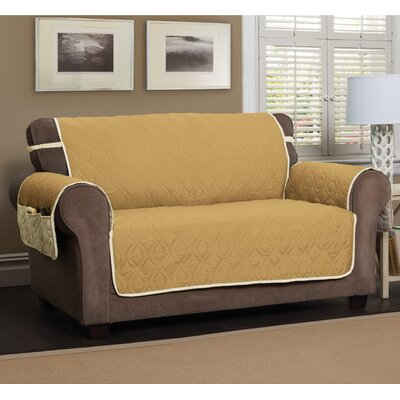 Five Star Box Cushion Loveseat Slipcover Color: Gold