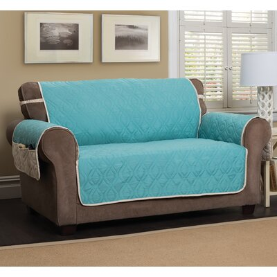 T-Cushion Sofa Slipcover Size: 75.5 H x 124 W, Color: Blue