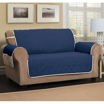 T-Cushion Sofa Slipcover Size: 75.5 H x 134 W, Color: Navy Blue