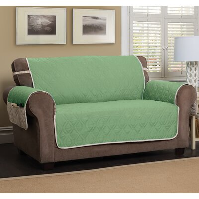 T-Cushion Sofa Slipcover Size: 75.5 H x 134 W, Color: Green