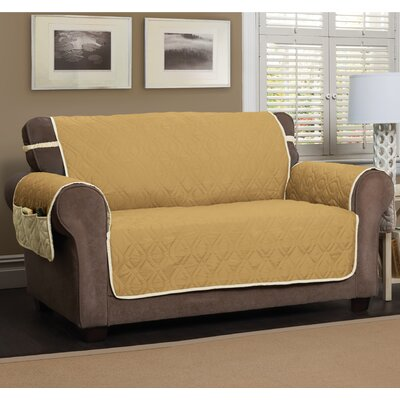 T-Cushion Sofa Slipcover Size: 75.5 H x 134 W, Color: Gold