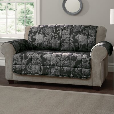 Elnora Loveseat Slipcover Color: Black