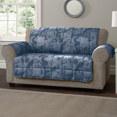 Box Cushion Loveseat Slipcover Color: Blue