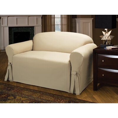Tie Cotton Blend Box Cushion Loveseat Slipcover Upholstery : Natural
