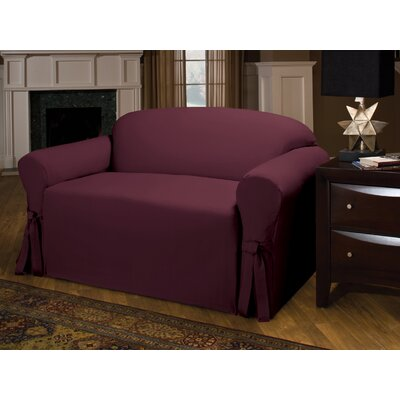 Tie Cotton Blend Box Cushion Loveseat Slipcover Upholstery : Burgundy