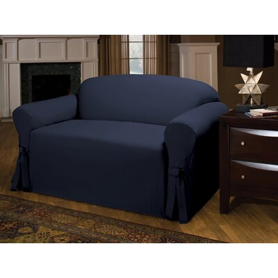 Tie Cotton Blend Sofa Slipcover Upholstery : Navy