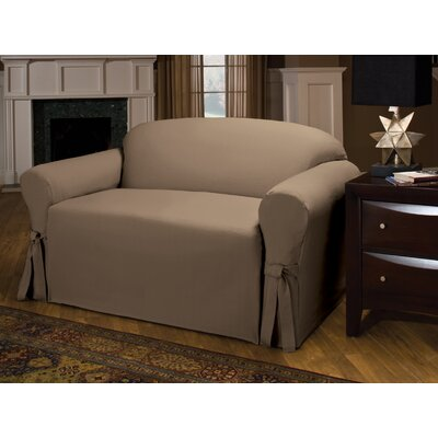 Tie Cotton Blend Box Cushion Sofa Slipcover Upholstery : Cocoa