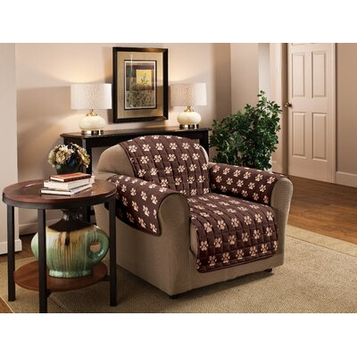 Paw Prints Furniture Protector Polyester Microfiber Armchair Slipcover Color: Chocolate