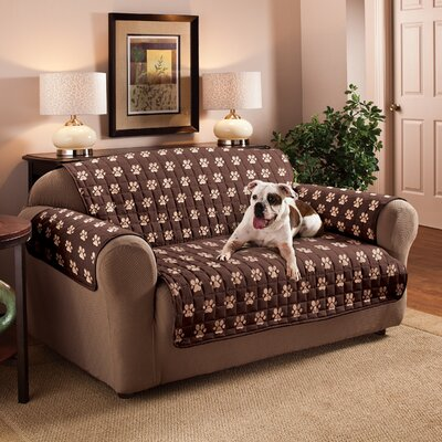 Polyester Microfiber Loveseat Slipcover Color: Chocolate