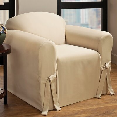Tie Cotton Blend Armchair Slipcover Upholstery : Natural