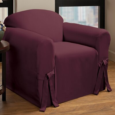 Box Cushion Armchair Slipcover Upholstery : Burgundy