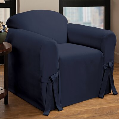 Tie Cotton Blend Armchair Slipcover Upholstery : Navy
