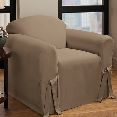 Box Cushion Armchair Slipcover Upholstery : Cocoa