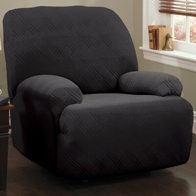 Double Diamond Stretch Sensations Box Cushion Recliner Slipcover Upholstery: Black