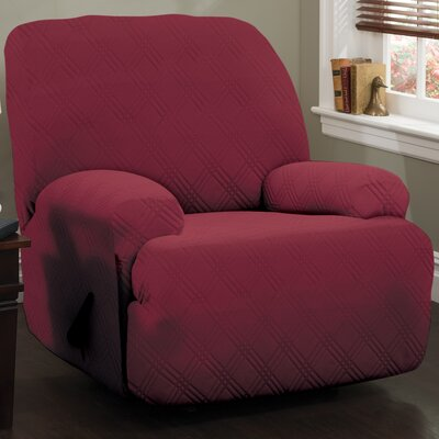 Double Diamond Stretch Sensations Box Cushion Recliner Slipcover Upholstery: Brick