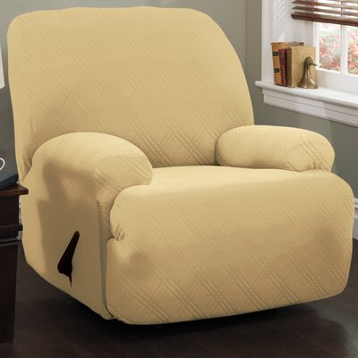 Double Diamond Stretch Sensations Box Cushion Recliner Slipcover Upholstery: Butter